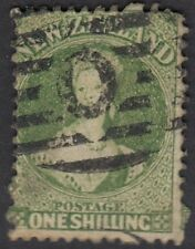 NEW ZEALAND :1864 1/- yellow-green perf 12.5 x 12,5 SG 125 used