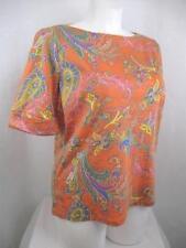 Lauren by Ralph Lauren Size 2X Orange Paisley 100% Cotton Short Cuffed SleeveTop