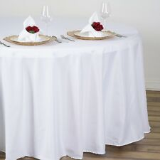"WHITE 108"" ROUND POLYESTER TABLECLOTH Wedding Discounted Tabletop Supplies"