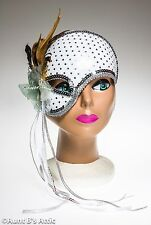 Mardi Gras Mask Silver Sequin Fabric Covered Half Face Mask On A Headband