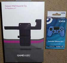 SONY PLAYSTATION 4 PS4 Fotocamera Cam TV Clip Supporto a parete + Controller Pelle Nuovo di Zecca