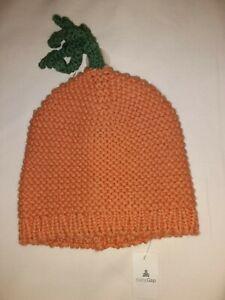 Baby Gap Knit Pumpkin Hat Orange Green Stem Size Newborn Up To 7 Lbs Nwt Fall