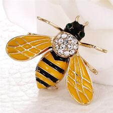 Women Delicate Little Bee Insect Crystal Rhinestone Pin Brooch Jewelry JDUK Yellow