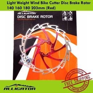 ALLIGATOR Light Weight Wind Bike Cutter Disc Brake Rotor 140 160 180 203mm (Red)