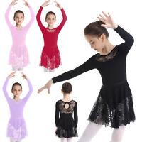 Girls Long Sleeve Ballet Dance Dress Gymnastics Leotard+Tutu Skirt Set Dancewear