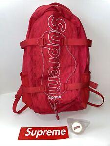 Supreme Official Red Backpack FW18 Shoulder Straps Zip Up Multi Pocket