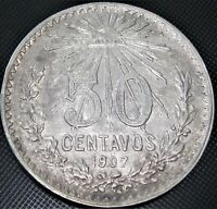 **Curved 7** 1907 Mexico 50 Centavos Cap & Rays KM#445 Silver Coin