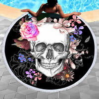 "Skull Round Beach Towel Floral Tassel Tapestry 3D Digital Printing Yoga Mat 59"""