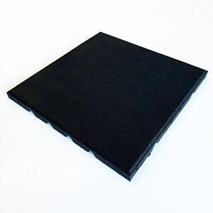 Dflect Rubber Gym Flooring Tile  - Black - Fine Granulate - High Density - 400mm