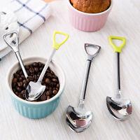 Novelty Stainless Steel Shovel Shape Coffee Soup Long Handle Tea Spoons