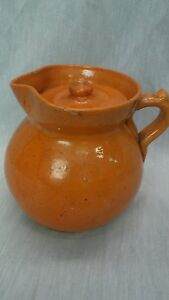 Unique antique Jugtown N.C. arts pottery yellow ware pitcher with lid