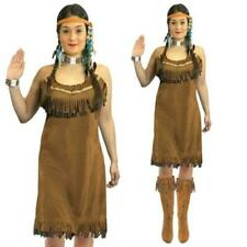 Ladies Red Indian Costume Adults Pocahontas Native American Fancy Dress Western