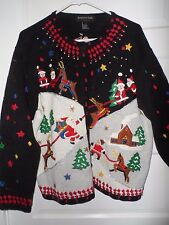 SANTA PLAYING in snow w/ REINDEER fun Christmas Sweater Party sz L pearls beads