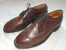 Vtg 40s 50s Beacon Union Made Longwing Leather Dress Shoes Sz 10 Wing Tip Brown