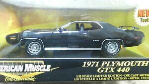 American Muscle ERTL 1971 Plymouth GTX 440 Black 1/18 Limited Edition MIB