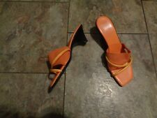 italian shoemakers orange/yellow strappy heels shoes size 6