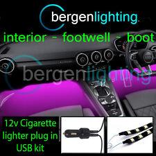 2X 500 mm de color rosa USB 12 V encendedor Interior Kit 12 V SMD5050 DRL tiras de iluminación ambiental