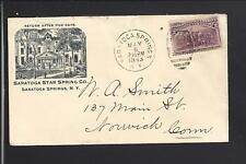 "SARATOGA SPRINGS,NEW YORK, 1893 , COVER, ILLUST ADVT. ""SARATOGA STAR SPRING CO""."