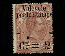 1890 Italy 2c on 50c Parcel Post Perfin Cancelled gum hinged small thin