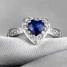 L161 Handmade 1.70CT Natural Sapphire 14K White Gold Ring Size US 7