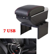 7 USB Rechargeable Style PU Car Central Container Armrest Box Storage Universal