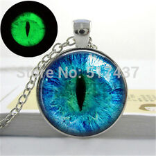 Blue Cats Eye Necklace-Glowing Eye Pendant -Silver luminous Picture Glowing