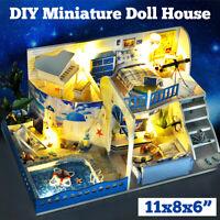DIY LED Dollhouse Miniature Wooden Furniture Kits Doll LED House Xmas Gift