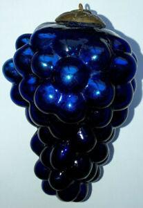 Antique French Cobalt Blue Grape Glass Kugel Christmas Ornament