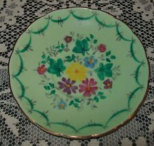 VINTAGE FOLEY GREEN HAND PAINTED FLORAL ORPHAN SAUCER 13.5cm