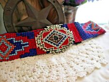 Native Style Handmade Red Black Seed Beaded AZTEC TURQUOISE Cowboy Belt STRETCH