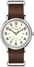 T2P495 Timex Weekender Mens Watch Cream Dial Brown Leather Strap T2P4959J