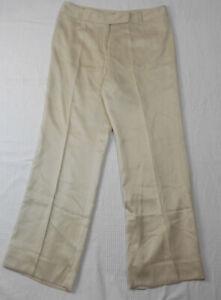 Ann Taylor Womens Silk Cuffed Dress Career Pants Beige Size 8P Petite  31 x 29