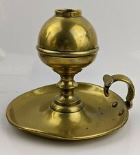 Antique Brass Whale Oil Lamp - Unusual Chamberstick Handled Model Candlestick