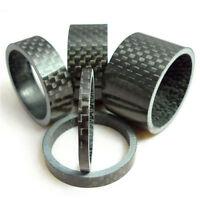 """5 x Fahrrad 1-1/8"""" 3/5/10/15/20mm Lenker Carbon Fiber Gloss Spacer ."""