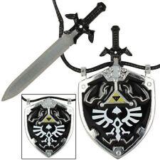 Dark Link Necklace Steel Sword and Shield Legend of Zelda Gift Trinket jewelry