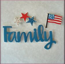 Family Word Patriotic Flag Stars Metal Magnets Set of 3 by Roeda® Free U.S. Ship