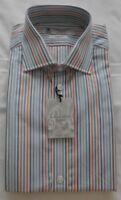 Men's Turnbull & Asser Work/Casual Shirt-Blues/White/Orange Stripe-15.3/4'' NEW