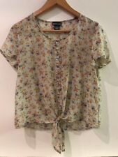 Juniors Wet Seal Sheer Floral Blouse Tie Front Size S Small