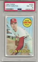 1969 TOPPS # 255 STEVE CARLTON, PSA 8 NM-MT,  HOF, ST. LOUIS CARDINALS, CENTERED