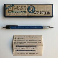 Vintage Staedtler Mars Lumograph 1002 Wood 2mm Lead Holder Mechanical Pencil