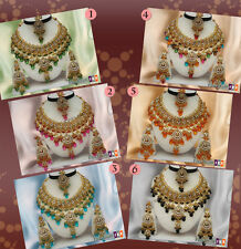 Bling N Beaded  Whole Sale Lot Of 6 Sets Gold Plated Kundan Zerconic Necklace