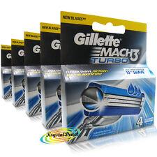 5x Gillette mach 3 Turbo Reemplazo comodidad De Afeitar Razor Blades - 4 Cartuchos