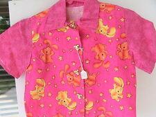 PINK PUPPIES Boy/Girl button-up shirt Size 2/4 DOG BUTTONS HANDMADE 100% cotton