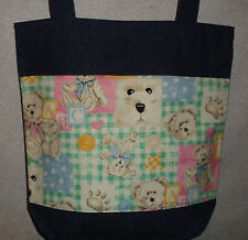 NEW Large Denim Tote Bag Handmade/w Teddy Bear Fabric