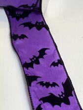 "10 Yds Of 2 1/2"" Wired Purple Halloween Taffeta Ribbon With Black Velvet Bats"
