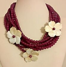 Designer Marked Mother of Pearl Ruby and Silver Multi Strand Necklace