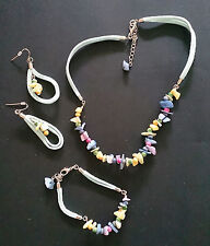 Pastel Colours Mother of Pearl Shell Necklace, Earring & Bracelet Set