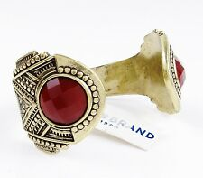 $65 Lucky Brand Red Faceted Stone Gold Tone Open Cuff Bracelet NEW