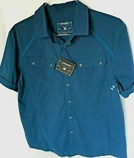 $150 Spyder Mens Twist Tech Nylon S/S Shirt Nwt Size L Blue Short Sleeve Top