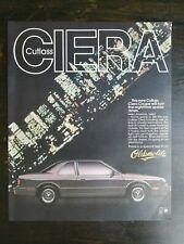 Vintage 1986 Oldsmobile Olds Cutlass Sierra Full Page Original Color Ad